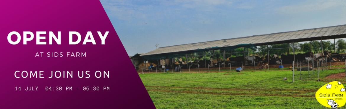 Book Online Tickets for Open Day at Sids Farm , Hyderabad. Come down with your family and friends to spend some time outside the city pollution enjoying the countryside at our farm. Sid\'s farm is a natural dairy farm. We have some cows, buffalos, ducks, geese, dogs, cats and a turkey at our farm. You