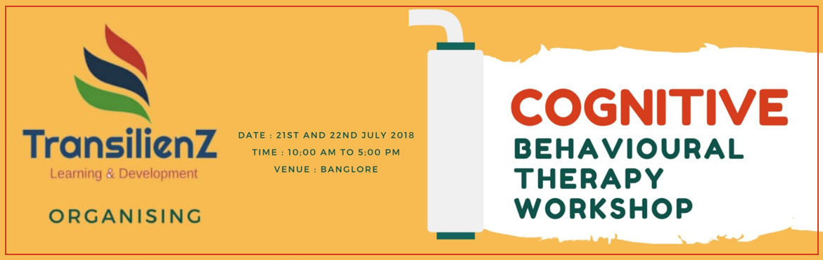 Book Online Tickets for CBT Workshop at Bangalore, Bengaluru.  COGNITIVE BEHAVIOURAL THERAPY WORKSHOPWhat is CBT?Cognitive behavioral therapy is a short term goal oriented Psychotherapy which focuses on how your thoughts, beliefs & attitudes affect your feelings and behaviour. It teaches you coping ski