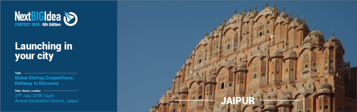 Book Online Tickets for Global Startup Competitions: Pathway to , Jaipur. Are you a tech startup looking to enter the North American Market? We\'re on the lookout to identify India\'s top innovative tech startups to enter the Next BIG Idea Contest.  The Next BIG Idea Contest is a Gateway for Indian Startups to the No