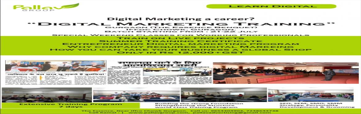 Book Online Tickets for Digital Marketing Workshop, Gurugram.    Digital Marketing Training @12000+ Taxes       7 Days Training Program   Brief:        Total Number of Hours: 40 Hrs       Course content Outline:       Onpage Op
