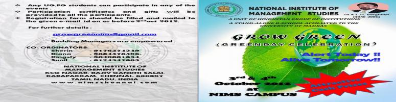 Book Online Tickets for GROW GREEN, Chennai. Dear Sir / Madam,
