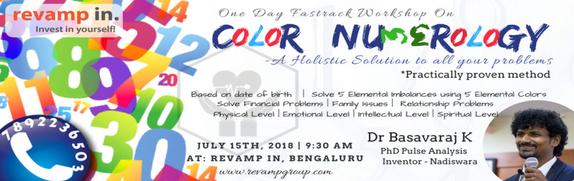 Book Online Tickets for COLOR NUM3ROLOGY, Bengaluru. A One Day Fastrack Workshop on *COLOR NUMEROLOGY - A Holistic Solution To All Your Problems, on 15th July, Sunday*   Practically Proven MethodBased on date of birth, learn to balance your body energy levels.   *Note: Amazing Discount for FI