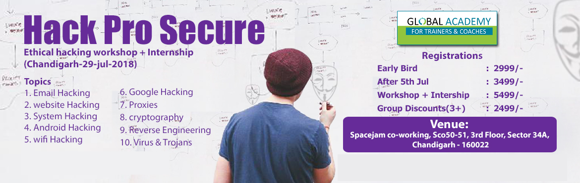 Book Online Tickets for Hack Pro Secure , Chandigarh. Ethical Hacking Workshop mainly focuses on the people eager to be a White Hat Hacker. It features a brief introduction to the world of hacking starting with the importance of ethical hackers and their need in today\'s world scenario, including