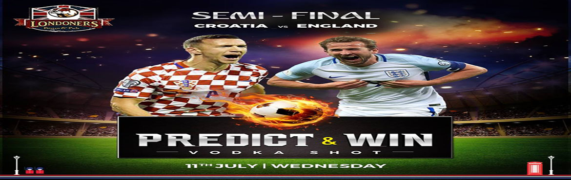 Book Online Tickets for FIFA WORLD CUP 2018 SEMI FINAL at London, New Delhi. Catch all 2018 FIFA World Cup games live in big screens, together with your ice cold Beer and enjoy special offers at your favourite Londoners Bistro & Pub.   Watch the game in style with your buddies!  While accessing our gre