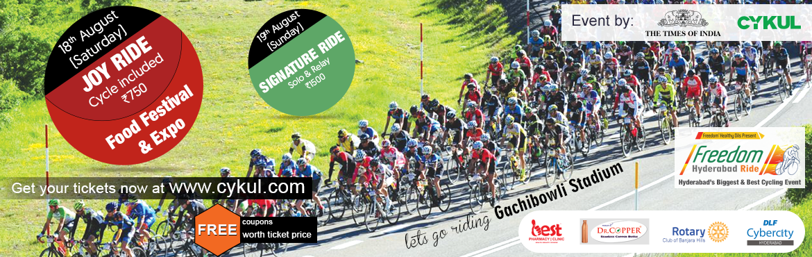Book Online Tickets for Freedom Ride 10th Edition - Signature/ r, Hyderabad. The Freedom Ride is Cykul's flagship event and has been held every year since 2009. International, National, and Local cyclists, professionals, and amateurs, have vied for top honors at India's best-known cycling race which showcase