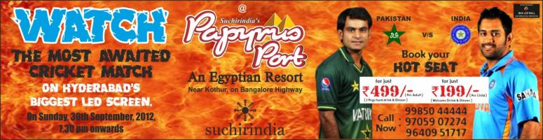 Book Online Tickets for WATCH THE MOST AWAITED T20 WORLD CUP CRI, . India Vs Pakistan - T20 World Cup on largest outdoor LED screen in Hyderabad. Live Telecast of T20 Cricket World Cup on the largest outdoor LED screen in the City of Hyderabad. VENUE:- PAPYRUS PORT RESORT,TIMMAPUR,BANGALORE HIGHWAY TIME:-7:30PM ON