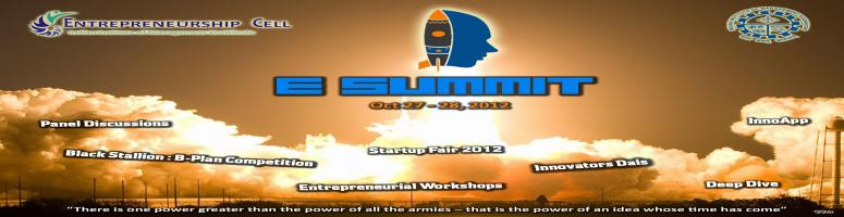 Book Online Tickets for Entrepreneurship Summit 2012 - IIM Kozhi, Kozhikode. E-Summit 2012 is a unique and novel idea which seeks to facilitate interaction between Venture Capitalists, seasoned & upcoming entrepreneurs, academia and students of B-Schools across the country. The summit will involve participation from estee