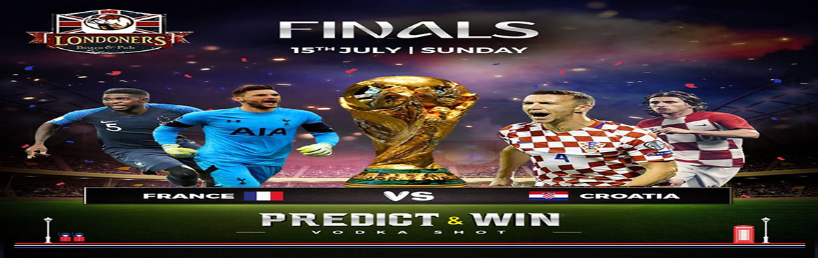 Book Online Tickets for FIFA WORLD CUP 2018 FINAL at Londoners B, New Delhi. Catch all 2018 FIFA World Cup games live in big screens, together with your ice cold Beer and enjoy special offers at your favourite Londoners Bistro.  Watch the game in style with your buddies! While accessing our great prices.  Watch the