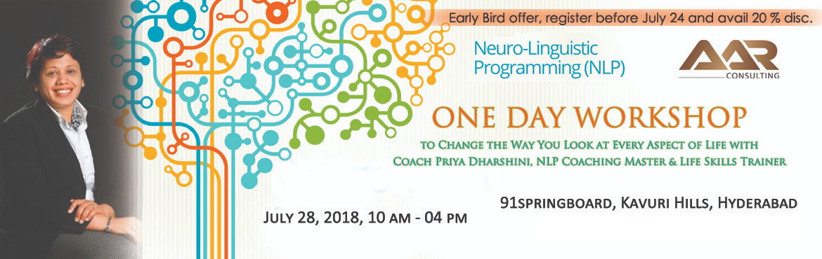 Book Online Tickets for One Day NLP Workshop, Hyderabad. This workshop helps people design and live the life they truly want to lead. It combines the power of coaching with the science of mind programming and can be applied in business, at work, with relationships as well as creating personal satisfaction.