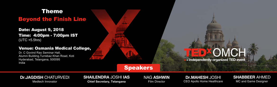 Book Online Tickets for TEDxOMCH, Hyderabad. The theme of TEDxOMCH is 'Beyond the Finish Line'. TEDxOMCH will host an audience of 100 curious, young minds, curated to absorb the experiences you have to share. Our goal is to bring together mavericks from diverse fields to give talks