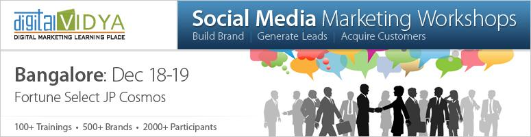 Social Media Marketing Workshop on 18th and 19th Dec 2012 at Bangalore