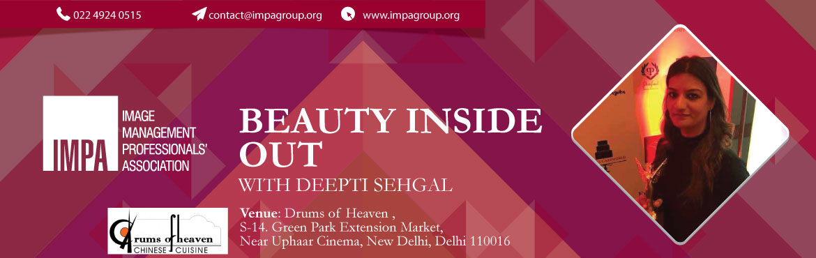 Book Online Tickets for Beauty Inside Out with Deepti Sehgal, New Delhi. Ms. Deepti Sehgal is an Internationally Certified Macrobiotic Dietician, ICF Certified Holistic Health Coach, Author, Doctor in Oriental Medicine, Entrepreneur, Certified Yoga Instructor, Holistic Health & Wellness Trainer, Internationally Certif