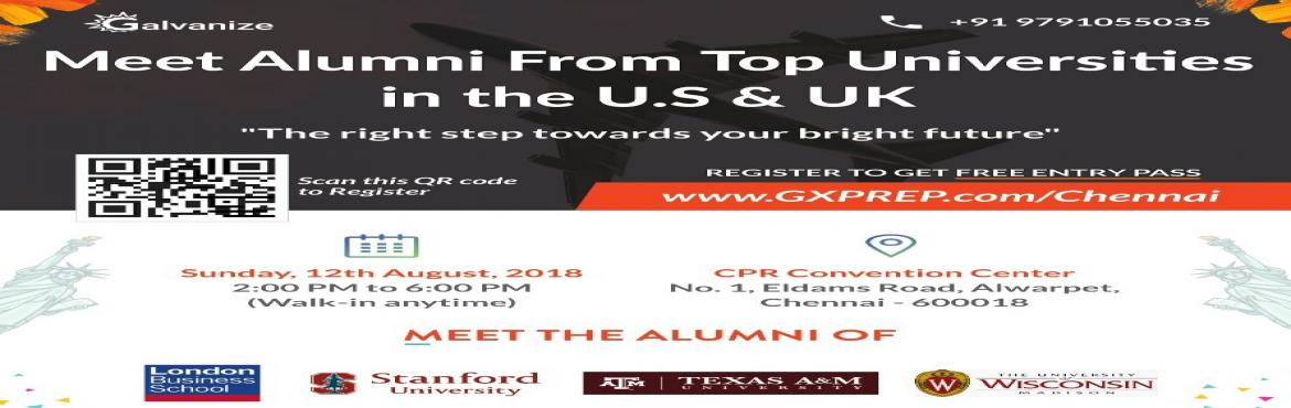 Book Online Tickets for Meet the Alumni of U.S and UK, Chennai. This is a shout-out to everybody looking for an admit from those exclusive universities abroad! We're thrilled to be hosting the event 'Meet Alumni of Top U.S. & U.K. Universities' this August! http://bit.ly/2JPAusa Pictur