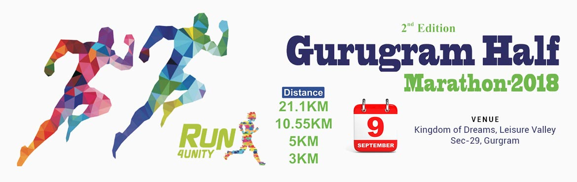 Book Online Tickets for 2nd Edition Gurugram Half Marathon 2018 , Gurugram.   Come Gurugram Let\'s Hold Hand And Make This Run A Run For Unity.By This Run we are Promoting UNITY among People Living Around with Us . This Event Will Be Flagged Of From Appu Ghar Kingdom of Dreams, Sec-29 Gurugram   All The Participant
