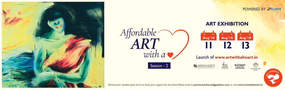 Book Online Tickets for Affordable Art with a Heart- Season 2, Kondapur.  Affordable Art with a Heart- Season 2 is an art exhibition event which will showcase wide variety of art (paintings, photographs and sculptures) by talented artists and differenty-abled children. The proceedings out of this will by 10