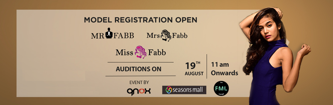 Book Online Tickets for Miss Mr Mrs Fabb Pune Auditions, Pune.  Audition for biggest beauty pageant of Pune city. (Miss Fabb Pune / Mrs Fabb Pune / Mr Fabb Pune)   Once you are selected in the audition you will go through the training and grooming session which will be held on 24th, 25th, 26th 30th 31s