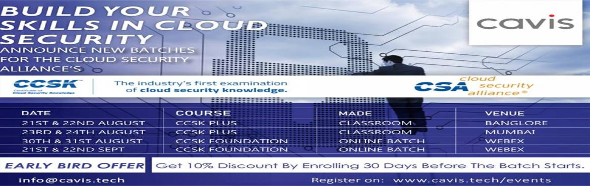 Book Online Tickets for Build Your Skills in Cloud Security, Joi, Bengaluru.  The CCSK is a web-based examination of an individual's competency in key cloud security issues. Launched in 2010, the CCSK is a widely recognized standard of expertise and is the industry's primary benchmark for measuring cloud sec