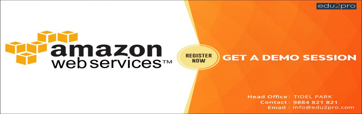 Book Online Tickets for Amazon Web Services Training, Chennai. Edu2Pro IT Training is starting a new batch for Amazon Web Services from upcoming Saturday, 11th August, 02:00 PM (IST) @ TIDEL PARK. Amazon Web Services will be covered in detail with sample projects by Industry Experts.  Duration: 24 - 30 Hours Pla