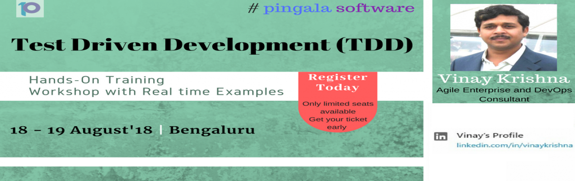 Book Online Tickets for Test Driven Development TDD Hands On Tra, Bengaluru. This is to notify you that Pingala Software proudly announces its upcoming 2 Days complete Hands-On Test Driven Development (TDD) Training designed by one of the industry expert Mr. Vinay Krishna at B