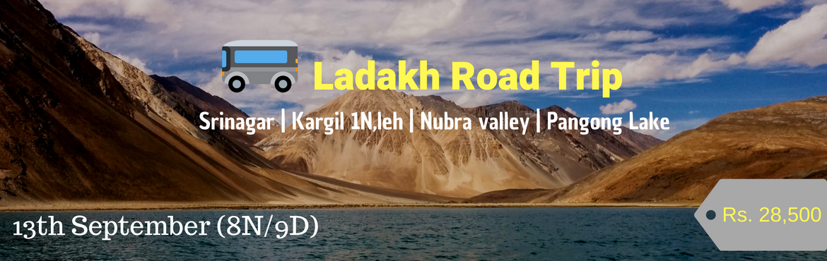 Book Online Tickets for Adventurous Leh - Ladakh Road Trip | 13t, Delhi.   Start date:13th September 2018   Starting Location: Srinagar to Leh   Duration: 8night / 9Days Price: Rs 28,500 + 5% GST Offer: Special group/per person discount available (Call 9210638305) (Road Safari in Ladakh)
