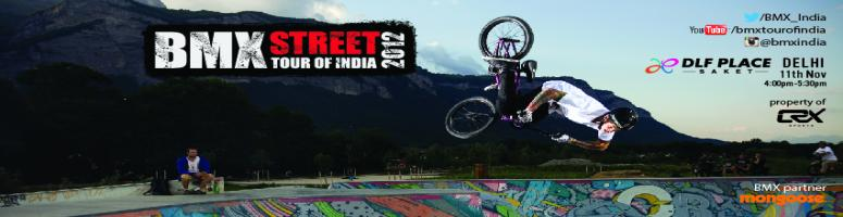 Book Online Tickets for BMX Street Tour Of India 2012 - Delhi, NewDelhi. BMX Street Tour of India 2012 will be India\\\'s largest BMX tour. The tour will visit 4 cities: Chennai, Pune, Mumbai and Delhi to enthrall crowds with the most breath-taking stunts ever. It will feature the world\\\'s best stunt-riders: Cam White (
