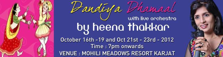 Book Online Tickets for Dandiya Dhamaal with Live Orchestra by H, Raigad.  Dandiya Dhamaal with Live Orchestra by Heena Thakkar &n