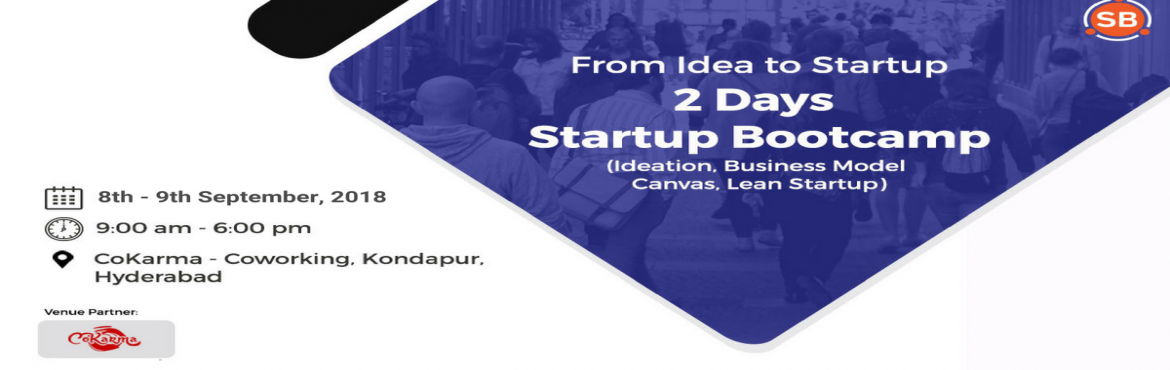 Book Online Tickets for 2 Days Startup Bootcamp, Hyderabad. Do you have an idea for a business that you want to start or are you working on an existing product and want to make it better? Is your inner entrepreneur calling?Join us for a 2 day bootcamp to learn the building blocks of launching a startup! Who S
