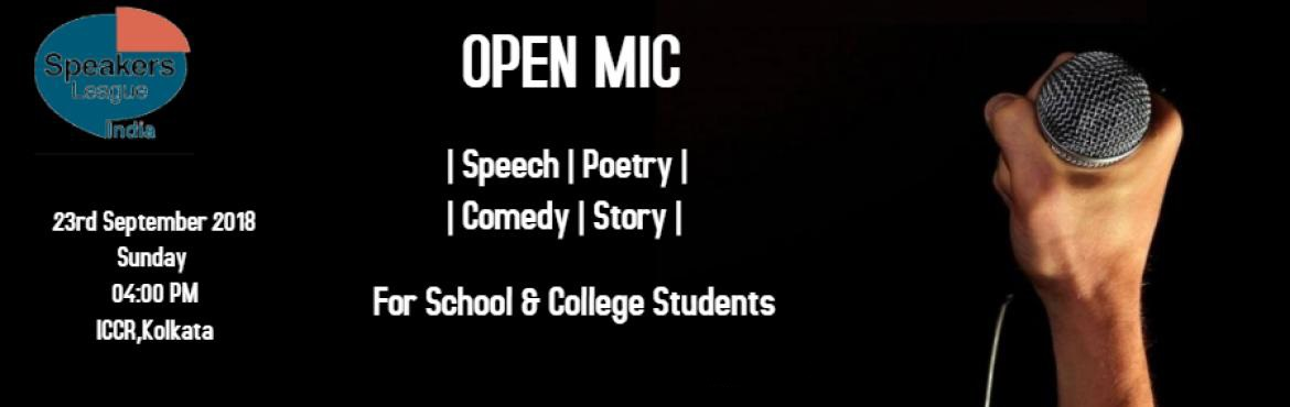 Book Online Tickets for OPEN MIC, Kolkata.   Get ready to witness an evening full of talents in Speech, Poetry, Storytelling  & stand up Comedy with some wonderful young adults.    Open Mic, a platform which enables all Children & Young Adults to showcase