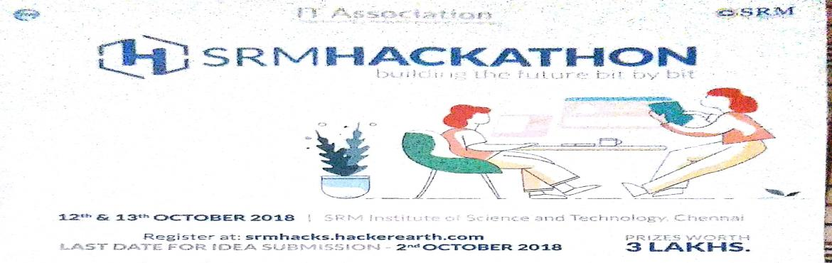 Book Online Tickets for SRM Hackathon, Kattankula. Do you ever feel that you have a great idea but are not able to successfully execute it? No worries! We are here again to provide you with a platform to transmute your idea into reality. IT Association, SRMIST, presents to you the 3rd edition of&nbsp