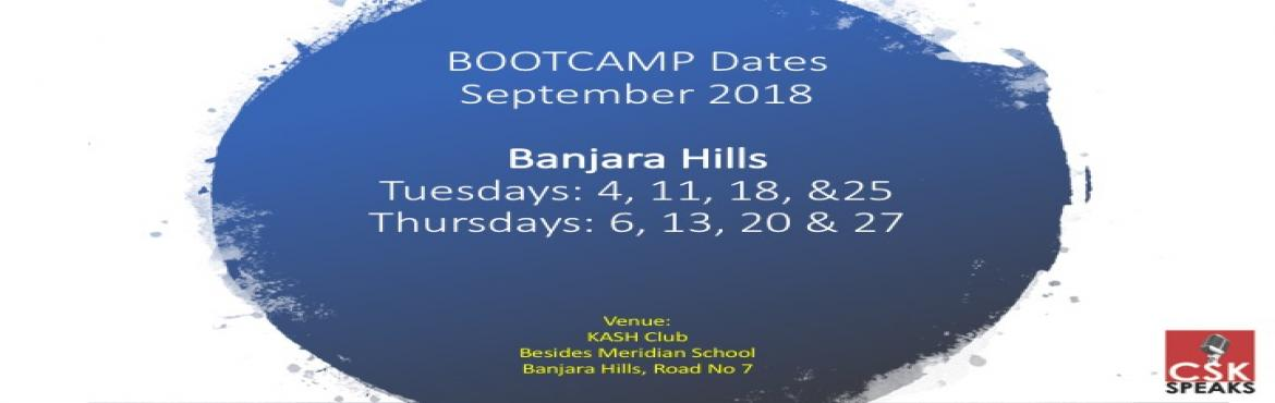 Book Online Tickets for Bootcamp - Effective Public Speaking for, Hyderabad.   Welcome to Effective Public Speaking BOOTCAMP for Kids.Banjara Hills (Tuesdays and Thursdays)   What is this BOOTCAMP about?   1. A public speaking and leadership training that comes with a fixed duration2. Specifically designed for