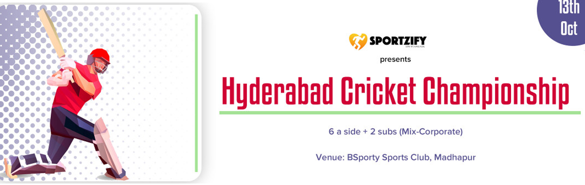 Book Online Tickets for Sportzify Hyderabad Cricket Championship, Hyderabad. INTRODUCTION  After having 8 successful seasons of Sportzify Cricket League in Bangalore, Sportzify has come to Hyderabad with the first edition of Sportzify Hyderabad Cricket League.  One of the most amazing concepts where world's