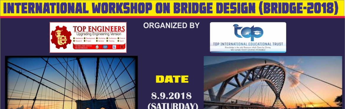 Book Online Tickets for INTERNATIONAL WORKSHOP ON BRIDGE DESIGN , Chennai. AGENDA: BASICSBRIDGE DESIGNHANDS ON SESSIONWorkshop Terms and Conditions: * This Workshop is strictly for STUDENTS, since the course content has been designed according to the AGENDA: BASICS BRIDGE DESIGN HANDS ON SESSION Workshop Terms and Condition