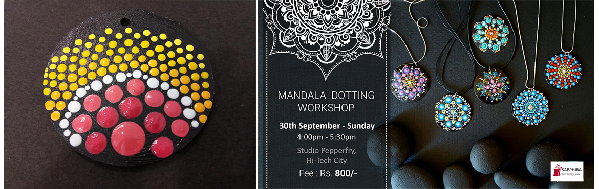 Book Online Tickets for Mandala Dotting on Pendants, Hyderabad. Mandala Dottingon PendantsA mandala can be defined in two ways: externally as a schematic visual representation of the universe and internally as a guide for several psychological practices that take place in many Asian traditions, including me