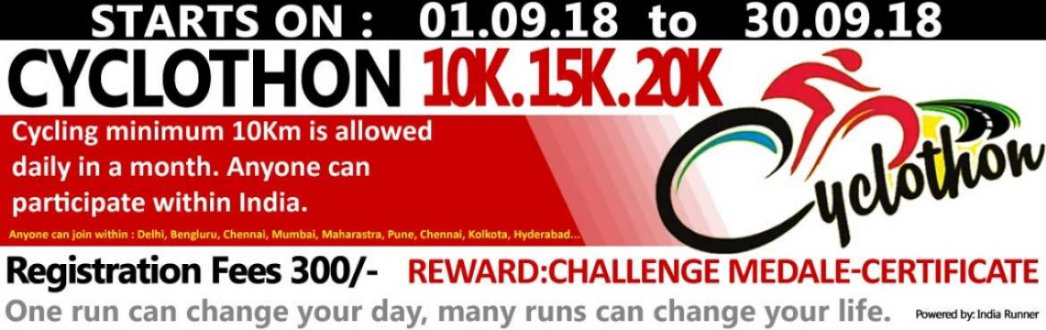 Book Online Tickets for 10K Cyclothon Challenge 01.09.18 to 30.0, Mumbai. 10K Cyclothon Challenge 01.09.18 to 30.09.18   CyclingEveryDay Cycling AnywhereCycling AnytimeCycling Indoor/Outdoor   OVERVIEW EVENT DESCRIPTION: Cycling from any location you choose. You can cycling on the road, on the trail, on thetreadm