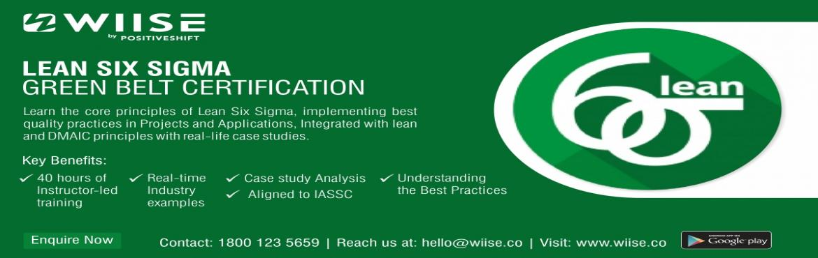 Book Online Tickets for Lean Six Sigma Green Belt Online Course, Hyderabad. About Program Study for Lean Six Sigma Green Belt with this interactive IL course, introducing you to the Six Sigma methodology and how organizational improvement can be delivered by focusing on quantitative methods in process improvement. Thro