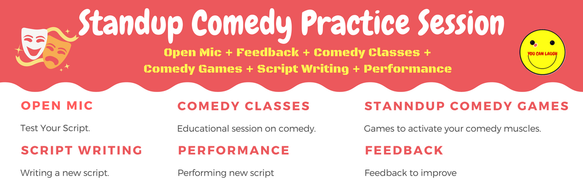 Book Online Tickets for Standup Comedy Practice Session 2.0, Bengaluru.  Stand-up comedy is a comic style in which a comedian performs in front of a live audience, usually speaking directly to them. In stand-up comedy, the comedian usually recites a grouping of humorous stories, jokes and one-liners typically called a mo