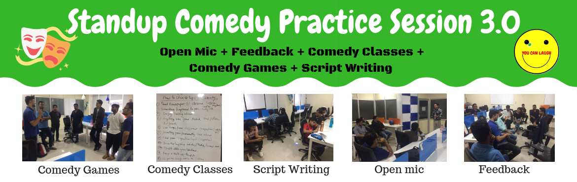 Book Online Tickets for Standup Comedy Practice Session 3.0, Bengaluru. Stand-up comedy is a comic style in which a comedian performs in front of a live audience, usually speaking directly to them. In stand-up comedy, the comedian usually recites a grouping of humorous stories, jokes and one-liners typically called a mon