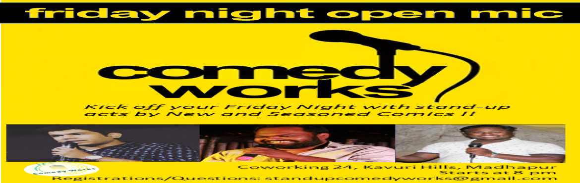 Book Online Tickets for comedy shows , Hyderabad.  Comedy Works is a standup comedy open mic. A great beautiful venue to spend time with your friends, family, with best ambience chill out terrace open place   Comedians will make you lugh and there are new comedians who try out their first