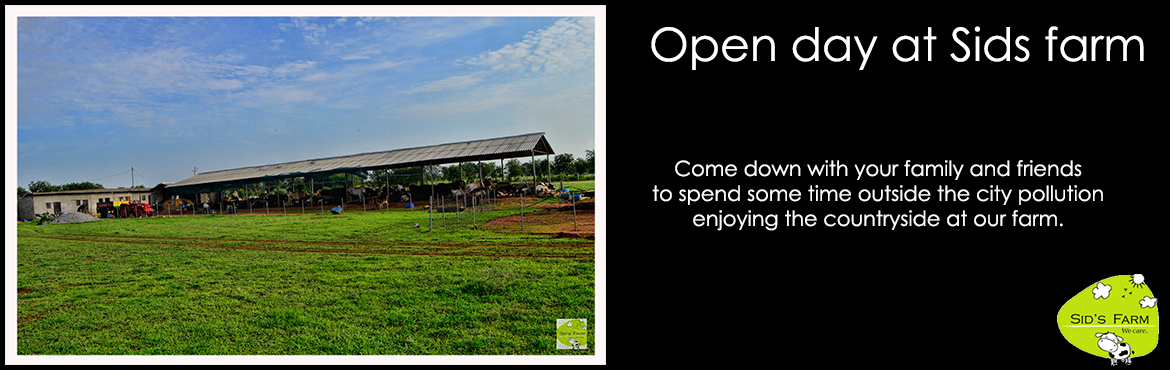 Book Online Tickets for Open Day at Sids Farm, Hyderabad. Come down with your family and friends to spend some time outside the city pollution enjoying the countryside at our farm.  Sid\'s farm is a natural dairy farm. We have some cows, buffalos, ducks, geese, dogs, cats and a turkey at our farm. You