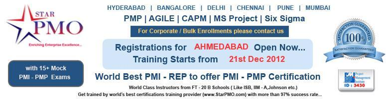 Book Online Tickets for PMP Certification Training in Ahmedabad , Ahmedabad. PMP Certification Workshop on MSP2010 Nucleus is pleased to announce its upcomingPMP Certification Training program at Ahmedabad. Workshop Dates in 21, 22, 23 December 2012 Location: 2-127, Hotel NAMI Residency, Opp.V.S.Hospital