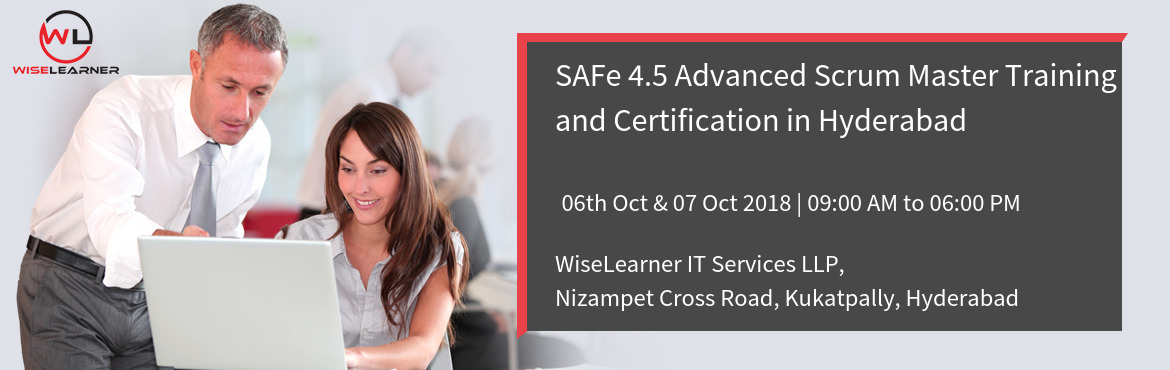 Book Online Tickets for Best SAFe 4.5 Advanced Scrum Master Trai, Hyderabad.   OVERVIEW  This two-day course prepares current Scrum Masters for their leadership role in facilitating Agile team, program, and enterprise success in a SAFe® implementation. The course covers facilitation of cross-team interactions in