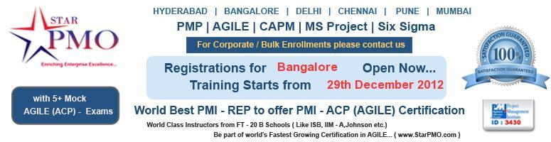 Book Online Tickets for PMI-Agile Training at Bangalore starts f, Bengaluru. PMI-Agile Training at Bangalore starts from 29th December 2012