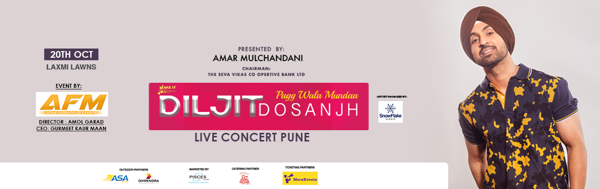 Book Online Tickets for DILJIT DOSANJH LIVE IN CONCERT @ LAXMI L, Pune. For the very first time Diljit Dosanjh Live in concert in PUNE (Maharashtra) singer/actor the star of Punjab Diljit Dosanjh who rose to fame with his hit song's Like Ek kudi, Do you know, Raat di gedi and movies like Udata Punjab and Soorma Get
