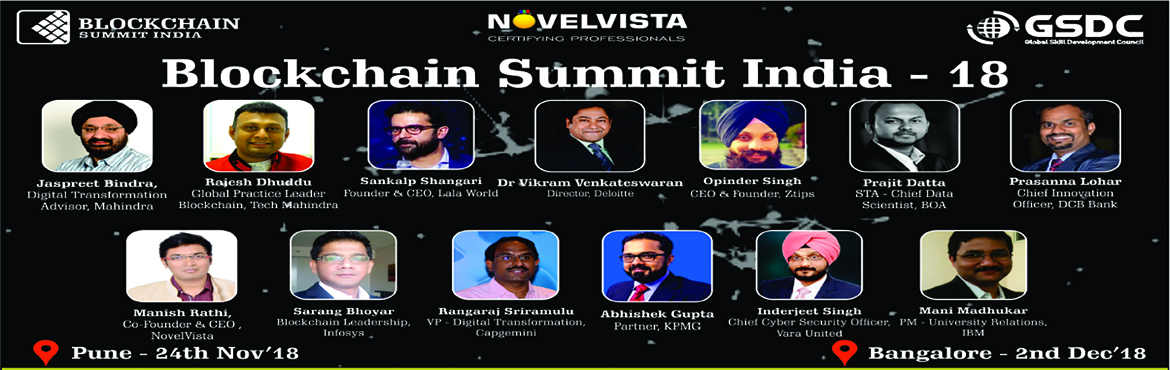 Book Online Tickets for Blockchain Summit India - Bangaluru, Bengaluru. The Blockchain Summit India event will feature keynotes Speakers, interactive panel discussions and case studies with a focus on learning the emerging blockchain space.   Over 1,000+ IT Leaders across all locations are expected to attend and 20+
