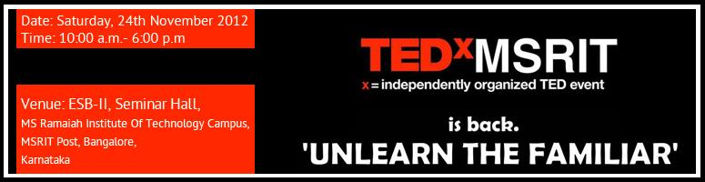 Book Online Tickets for TEDxMSRIT, Bengaluru.  