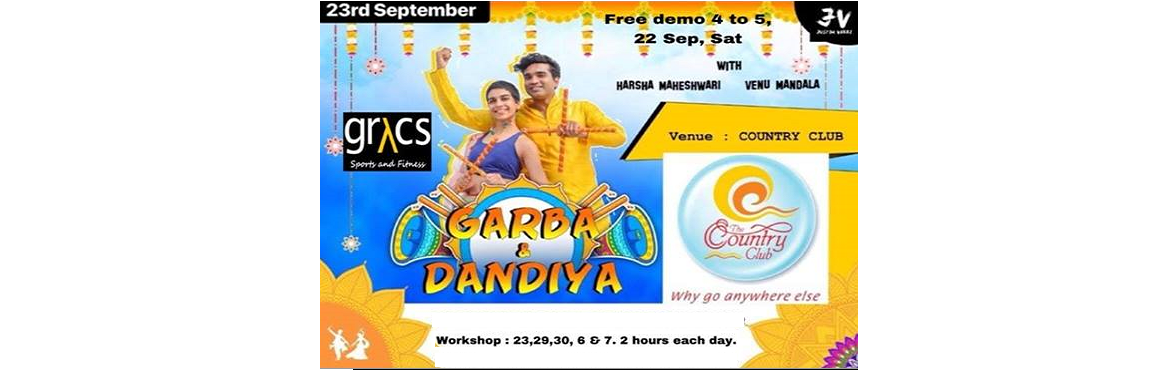 Book Online Tickets for Raas Garba Dandiya workshop, Hyderabad. He halo!!!  RAAS GARBA & DANDIYA the flavour of the season is here ! Lets welcome and indulge in the gradeur with one another by dancing Raas Garba & Dandiya at Country Club begumpet.  Free demo on 22 sep Saturday 4 to 5pm Workshop