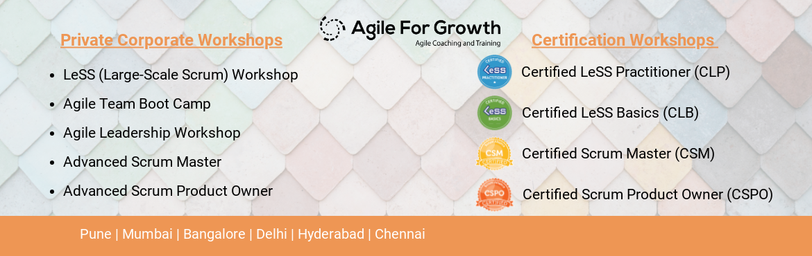 Book Online Tickets for Certified LeSS Practitioner (CLP) - Pune, Pune. Large-Scale Scrum (LeSS) is a framework for scaling agile development to multiple teams. With its principles, rules, guides, and experiments it aims to simplify the organizational complexity and offers guidance on how to descale y