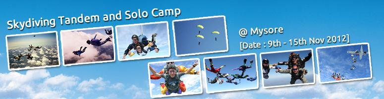 Book Online Tickets for Skydiving Tandem and Solo Camp at Mysore, Mysore. Skydiving Tandem Jump