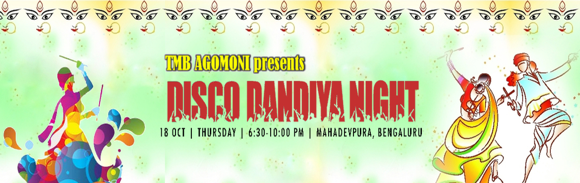 Book Online Tickets for AGOMONI DISCO-DANDIYA NIGHT 2018 , Bengaluru. AGOMONI DISCO-DANDIYA NIGHT 2018 Agomoni - Durga Puja Committee is organizing a unique blend of Dandiya and Disco night in a remarkable scale, suitable for all age groups.Background: Dandiya dances are traditionally performed during festi