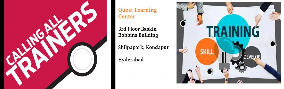 Book Online Tickets for Training for the Trainers: Meet, Learn a, Hyderabad. Are you a trainer and looking to improve your skills? Do you want to enter into the training field? Are you a trainer and looking to become a highly paid professional?  If answer to any of the above question is YES, then this workshop is for you. Tra